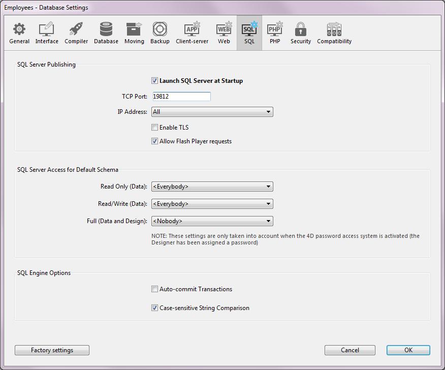 Configuration of 4D SQL Server