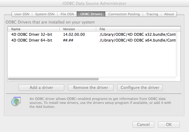 Installing an ODBC driver on OS X