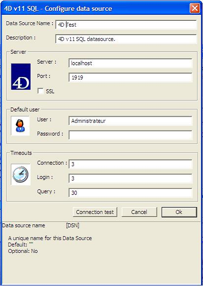 Connection to the 4D SQL engine via the ODBC Driver